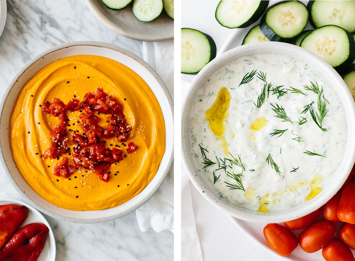 Tzatziki and hummus for Super Bowl food ideas.