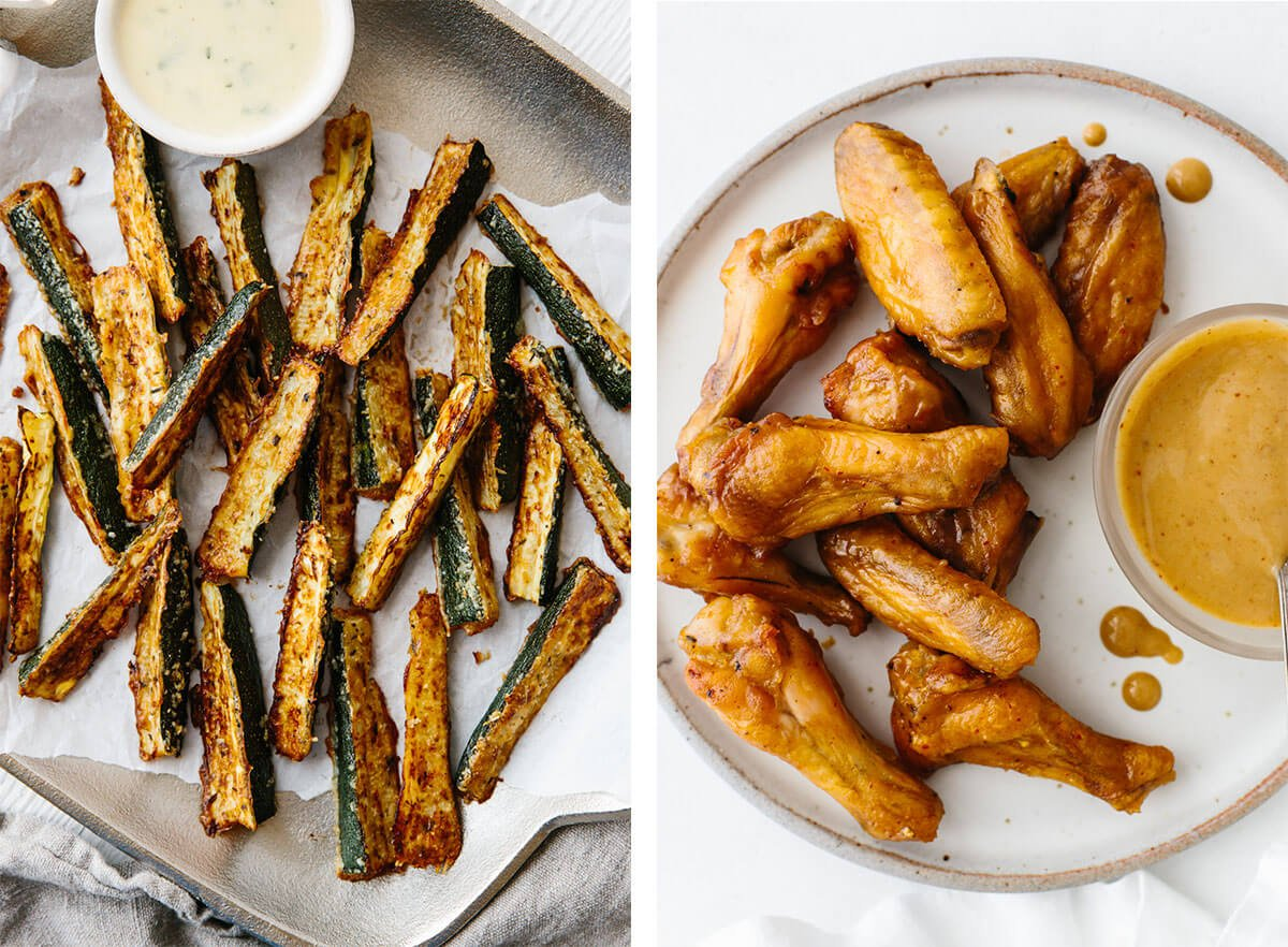 Zucchini fries and chicken wings for Super Bowl food ideas.