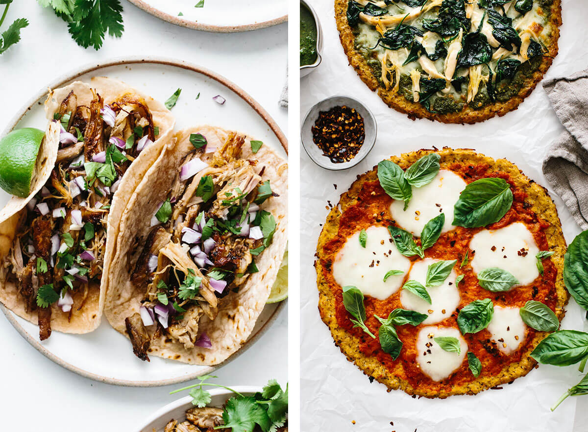 Carnitas tacos and cauliflower pizza for Super Bowl food ideas.