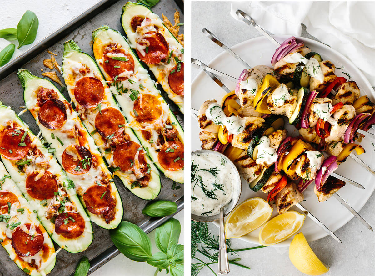 Pizza zucchini boats and chicken kabobs for Super Bowl food ideas.