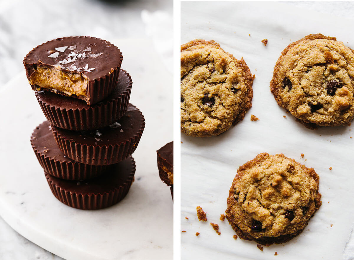 Almond butter cups and chocolate chip cookies for Super Bowl food ideas.