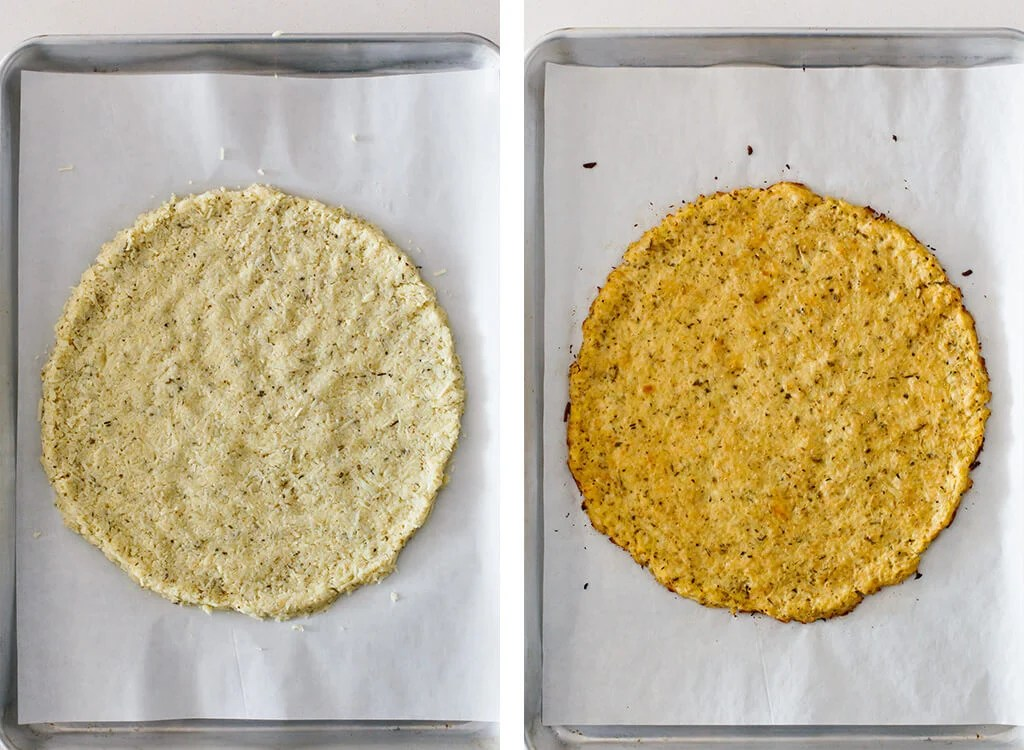 One uncooked and one cooked cauliflower pizza crust.