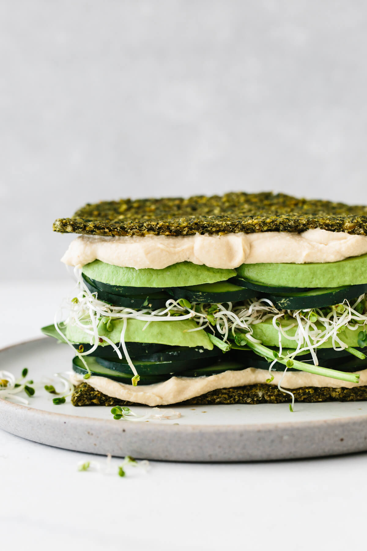 Green goddess falafel flatbread sandwich.