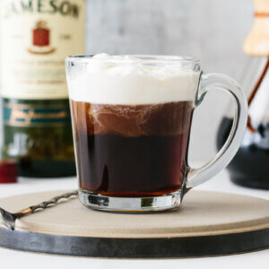Irish Coffee on a serving plate.
