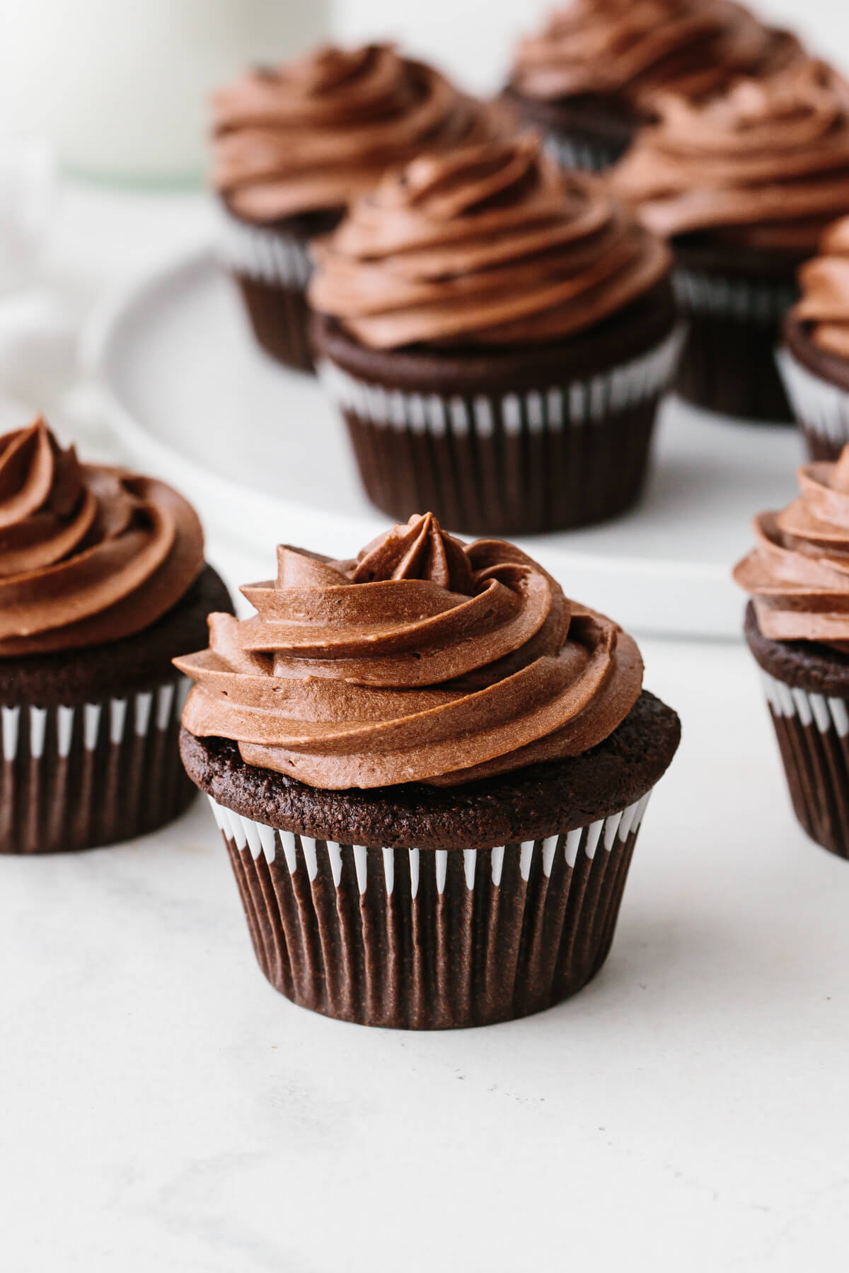 Paleo chocolate cupcakes on a table.