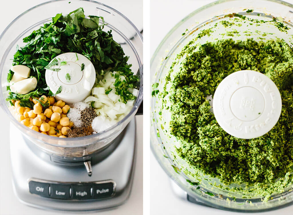 Making falafel flatbread in a food processor.