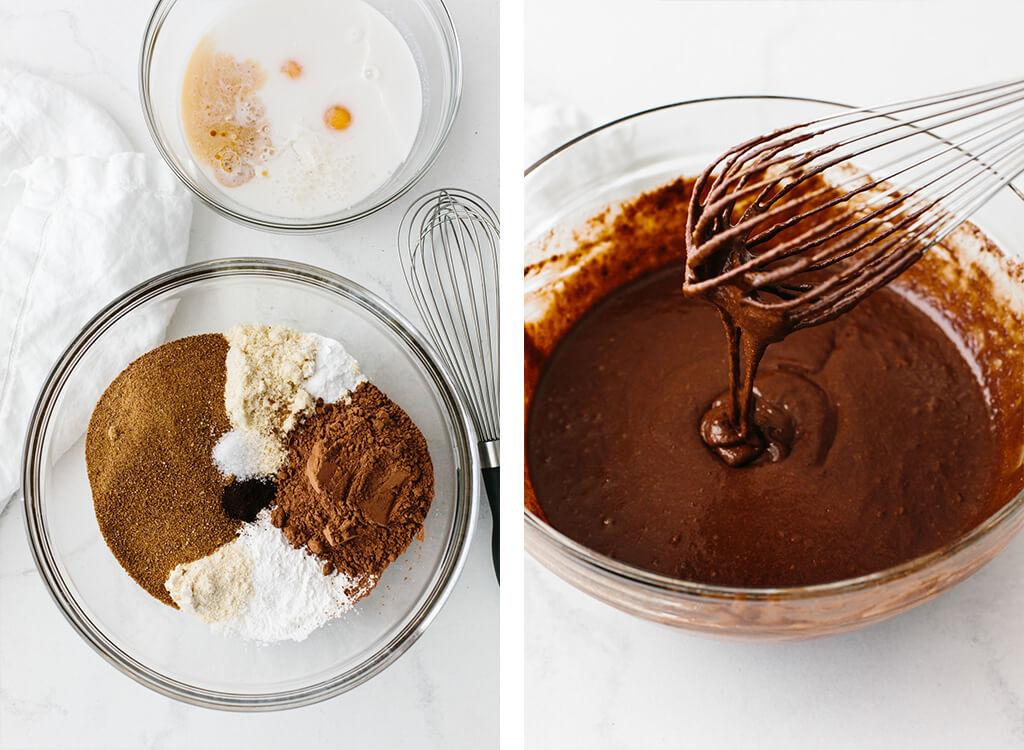 Ingredients for making paleo chocolate cupcakes.