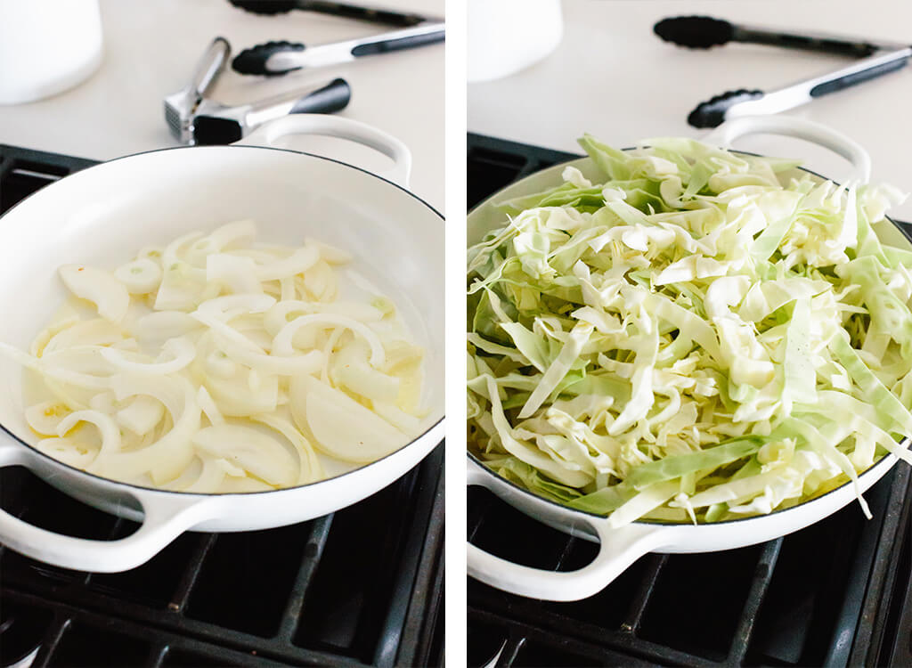 Making sauteed cabbage in a pan on the stove.