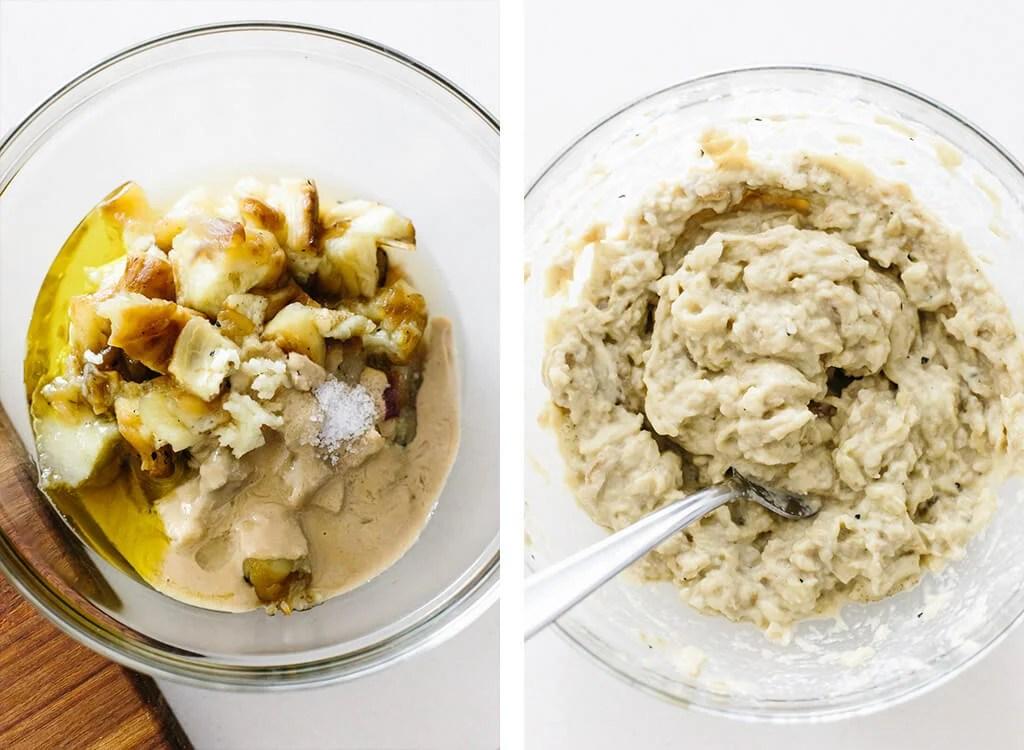 Mixing baba ganoush ingredients in a bowl.