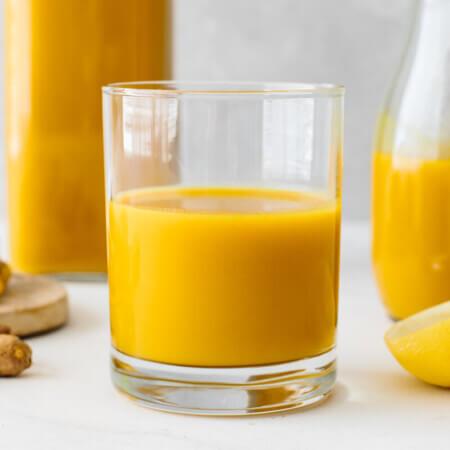 A single glass of jamu juice.