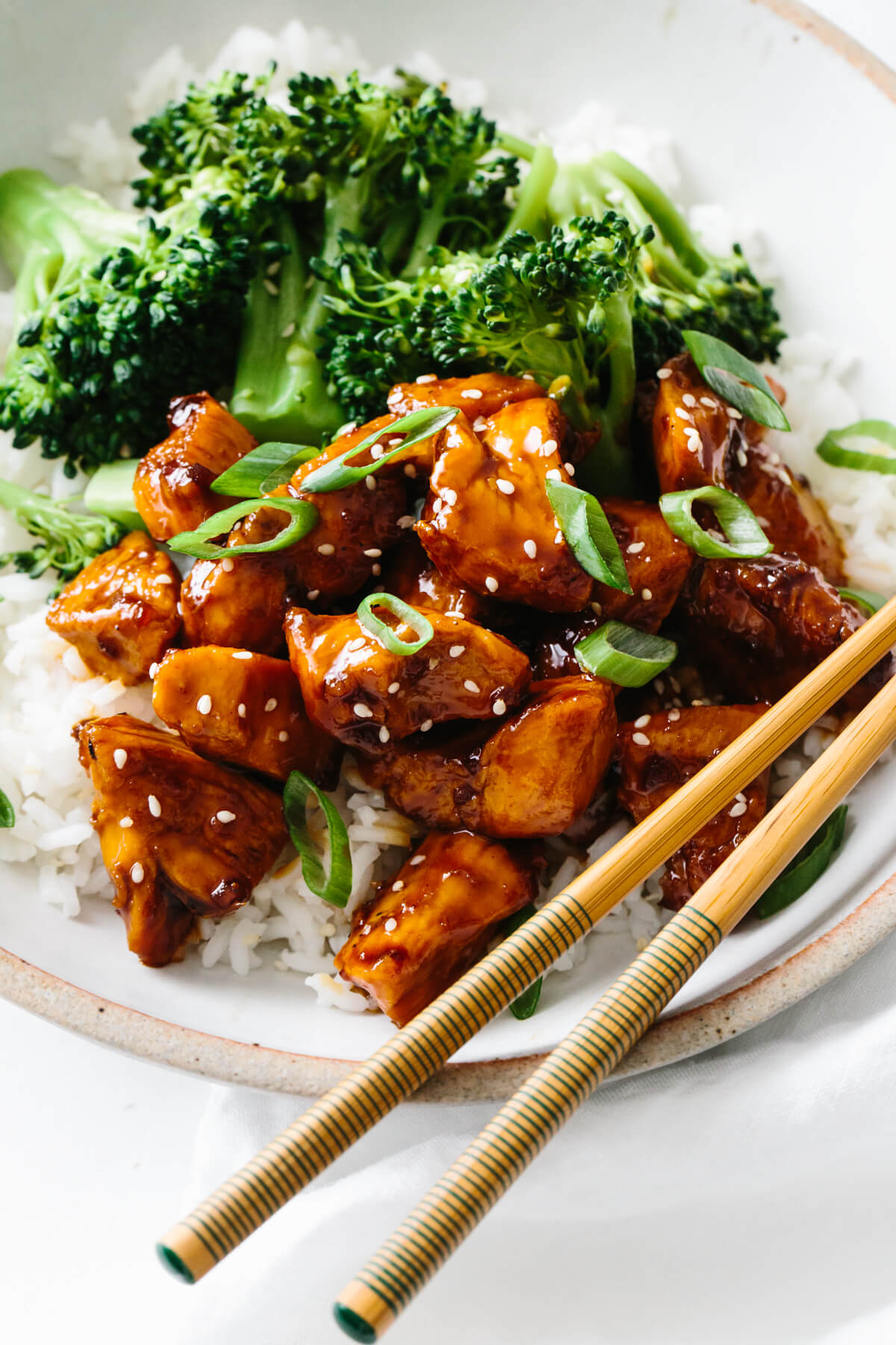 Teriyaki chicken recipe served with rice and broccoli.