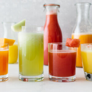 Several different flavors of agua fresca.