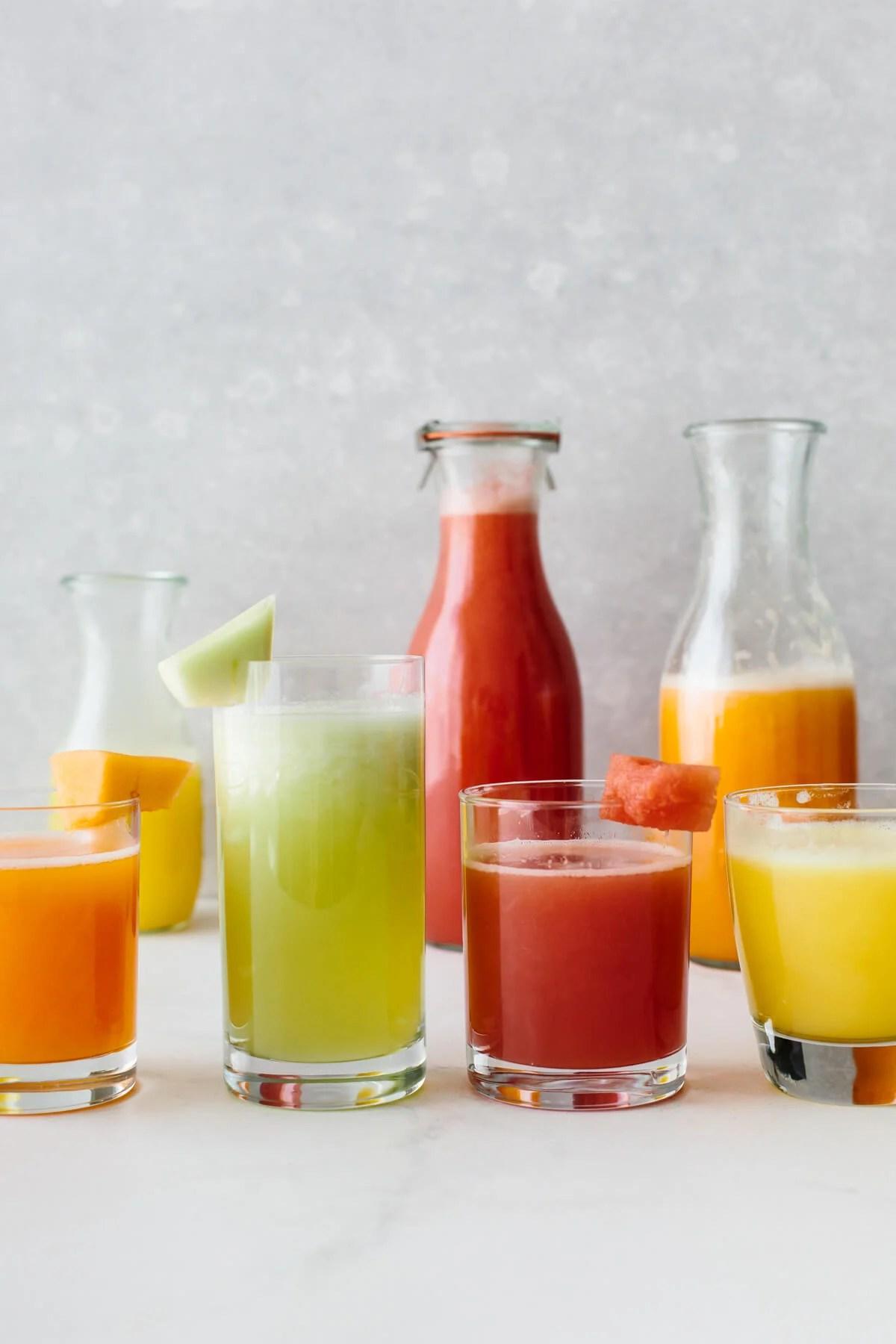 Several agua fresca drinks.