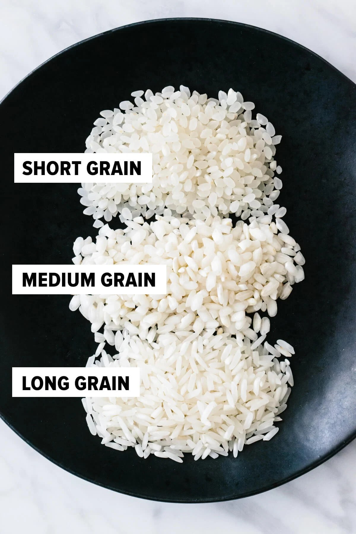 Short grain, medium grain and long grain rice on a plate.