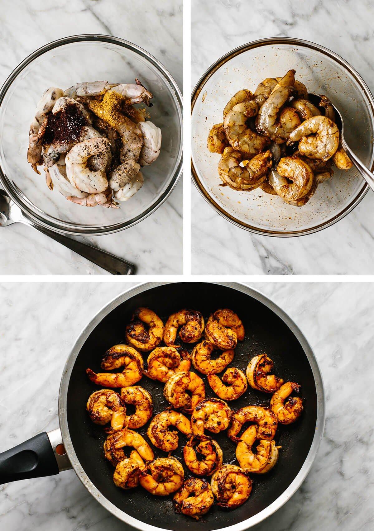 Sauteeing seasoned shrimp for shrimp tacos