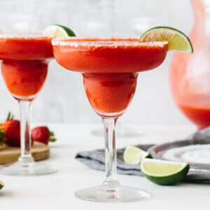 Strawberry margarita in glasses.