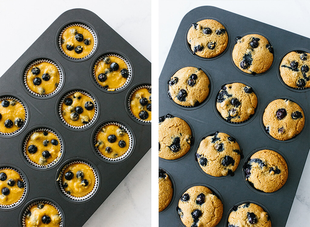 Paleo blueberry muffins in a muffin pan.