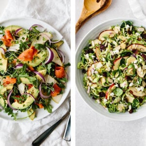 Two salad recipes side by side.