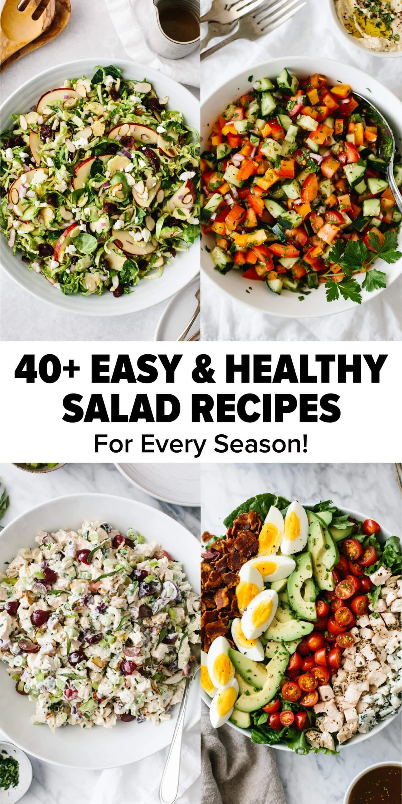 Compliation image of salad recipes.