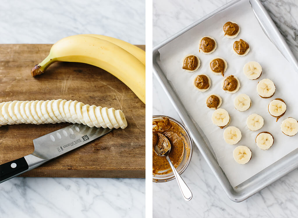 Slicing the banana and placing the banana slices on a baking sheet with a dollop of almond butter.
