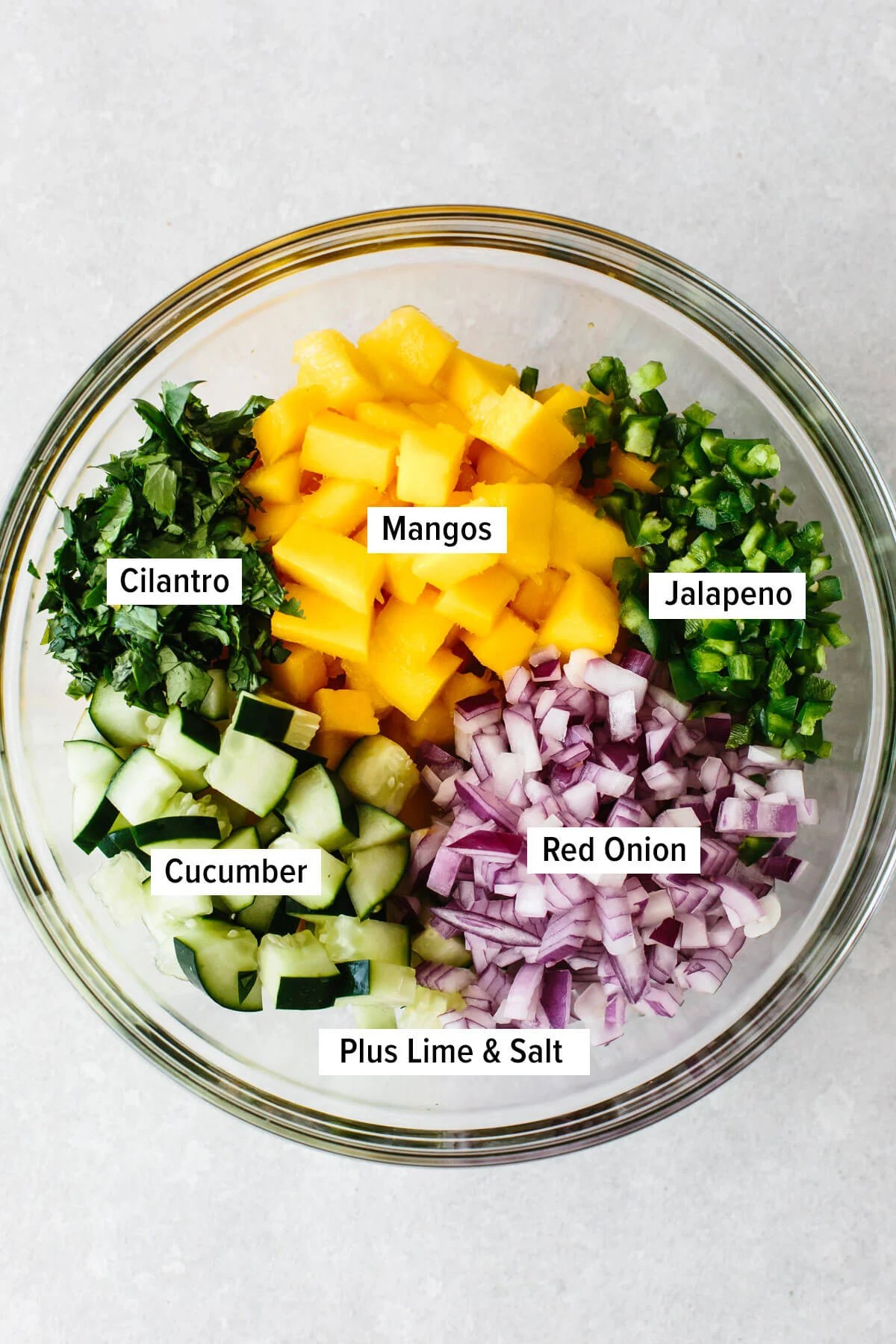 Ingredients for mango salsa in a bowl.