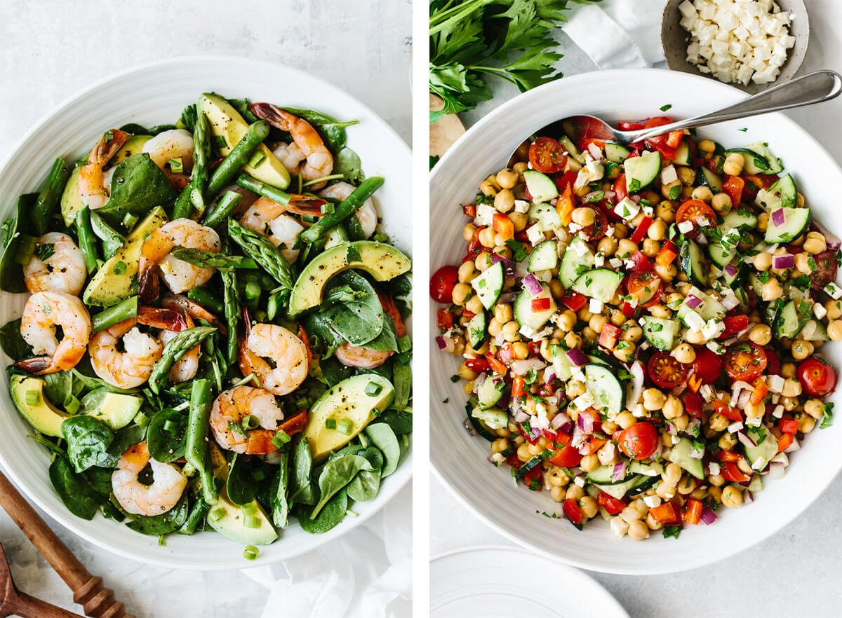Healthy salad recipes with chickpea salad and shrimp salad