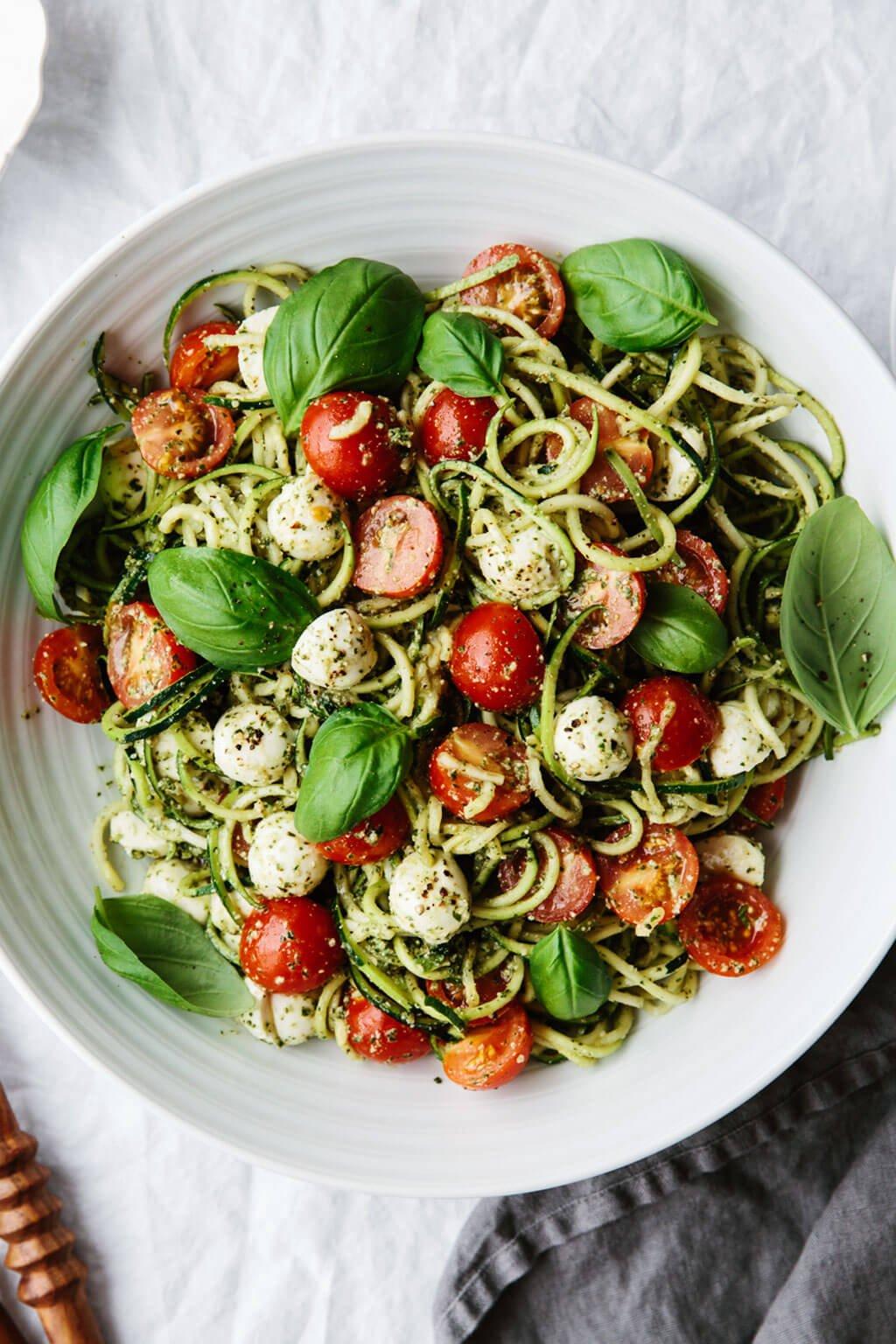 Zucchini noodle caprese salad recipe