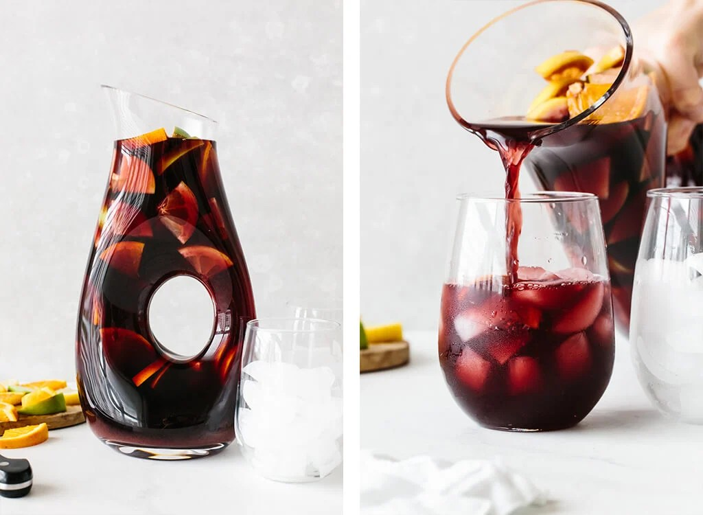 A pitcher of sangria and pouring sangria into a glass.