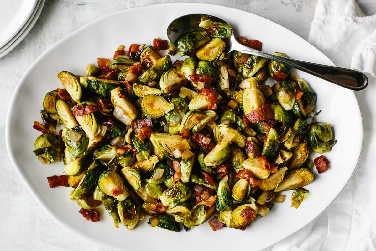 Balsamic bacon brussels sprouts on a serving platter.
