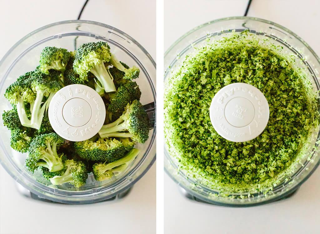 Making broccoli rice in a food processor.