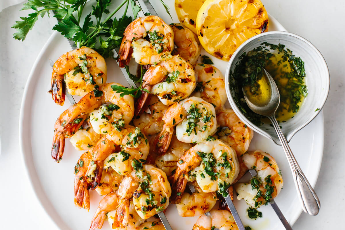 Photo of Garlic Grilled Shrimp Skewers | Downshiftology