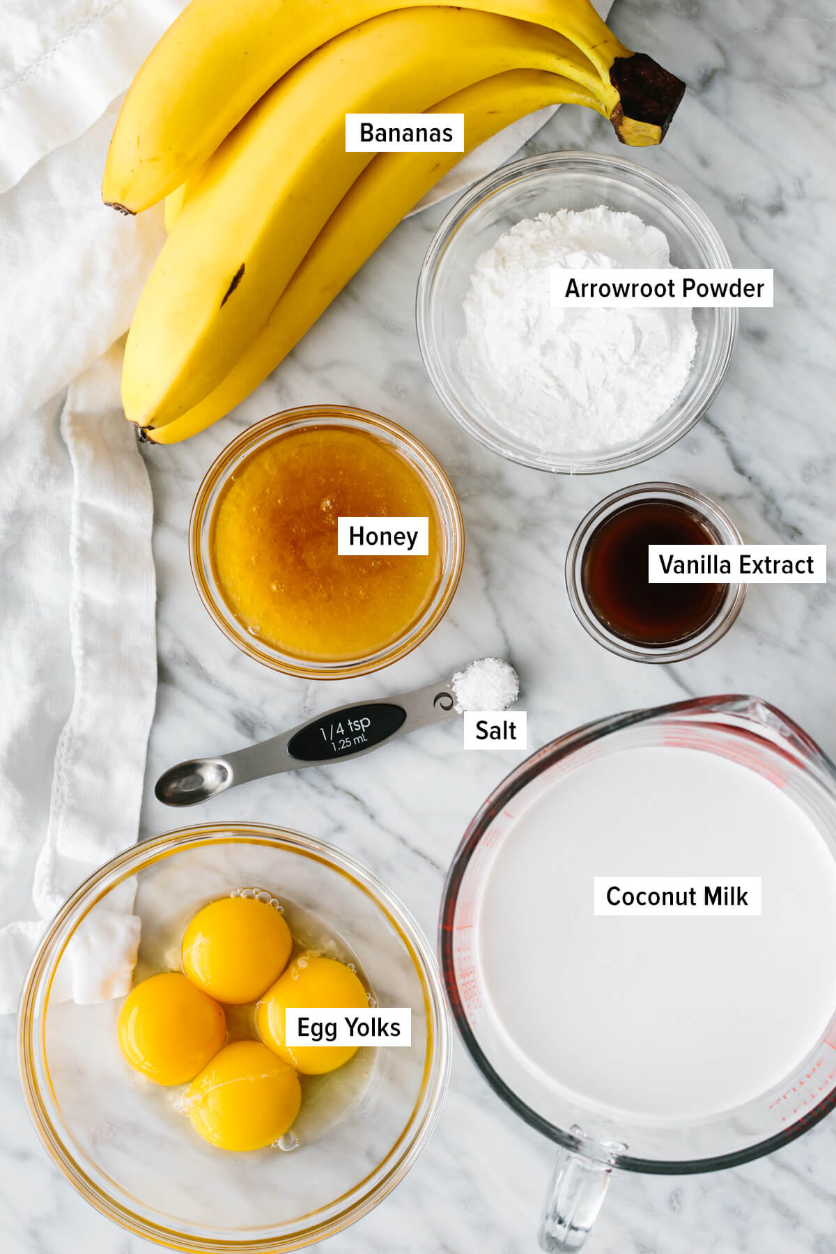 Ingredients to make banana pudding on a counter top.