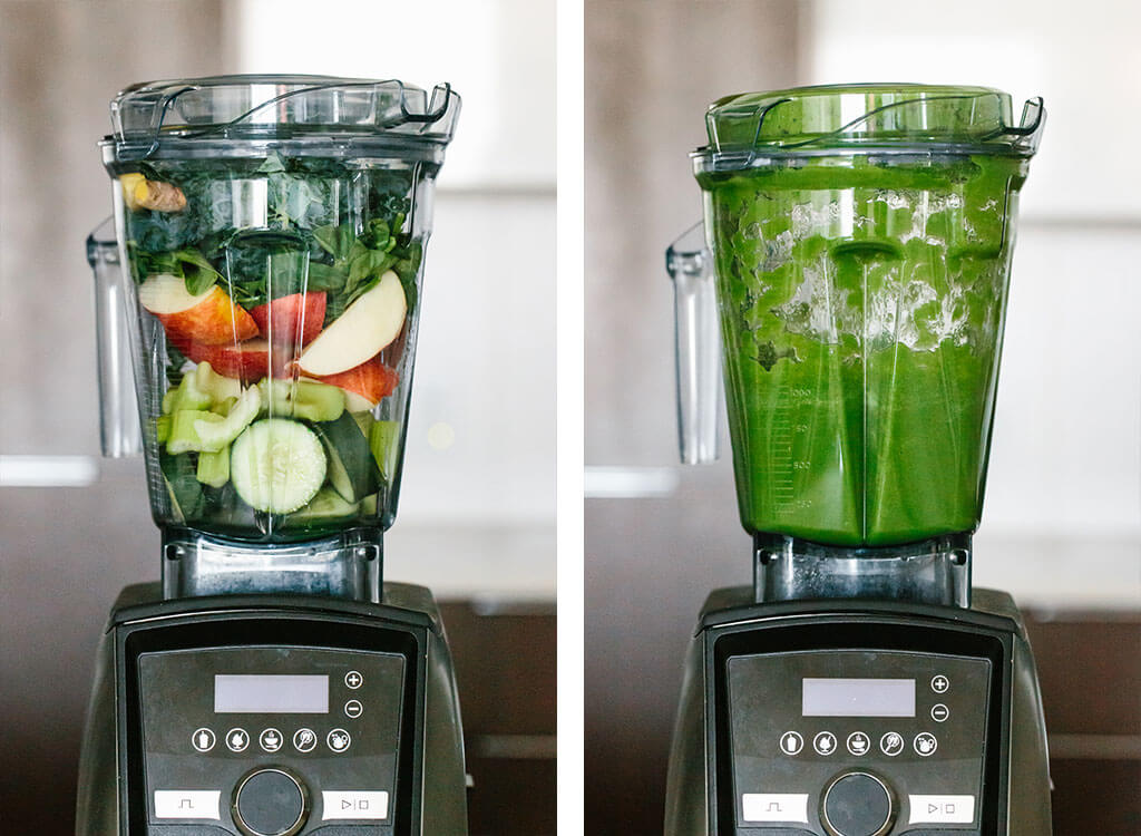 Green juice ingredients in a blender, then blended up in another photo.