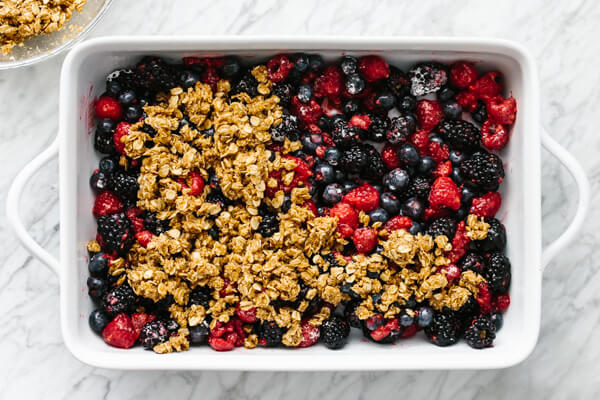 Crisp topping layered on top of berry filling.