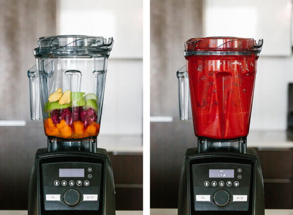 The ingredients to make the smoothie in a high-powered blender, and then blended up.