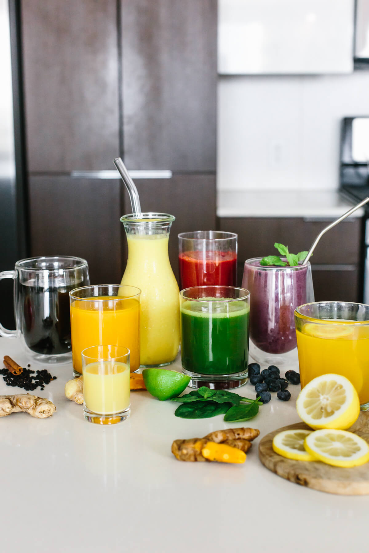 Anti-inflammatory drinks laid out on a countertop.