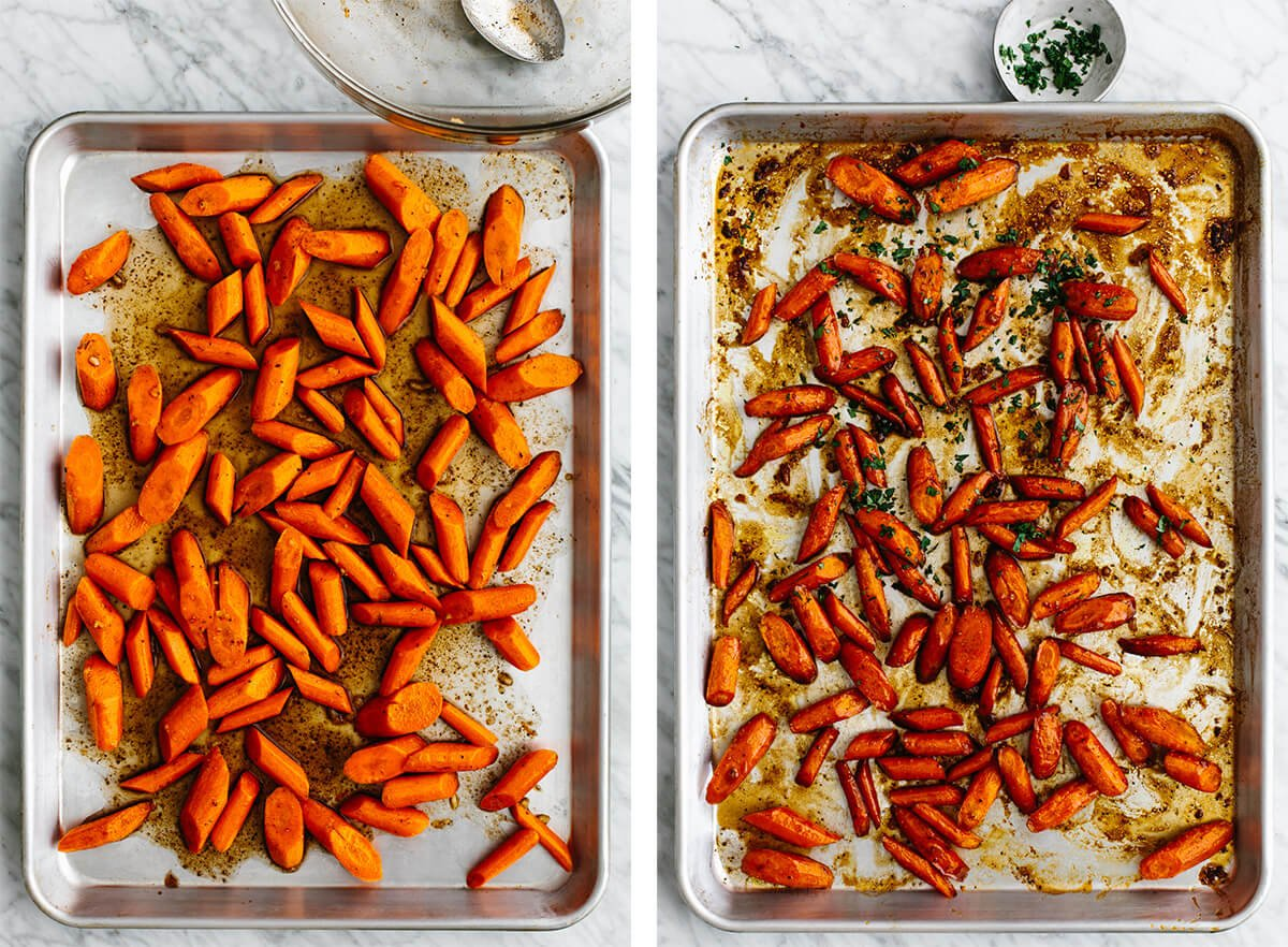 Honey glazed carrots being tossed on a sheet pan.