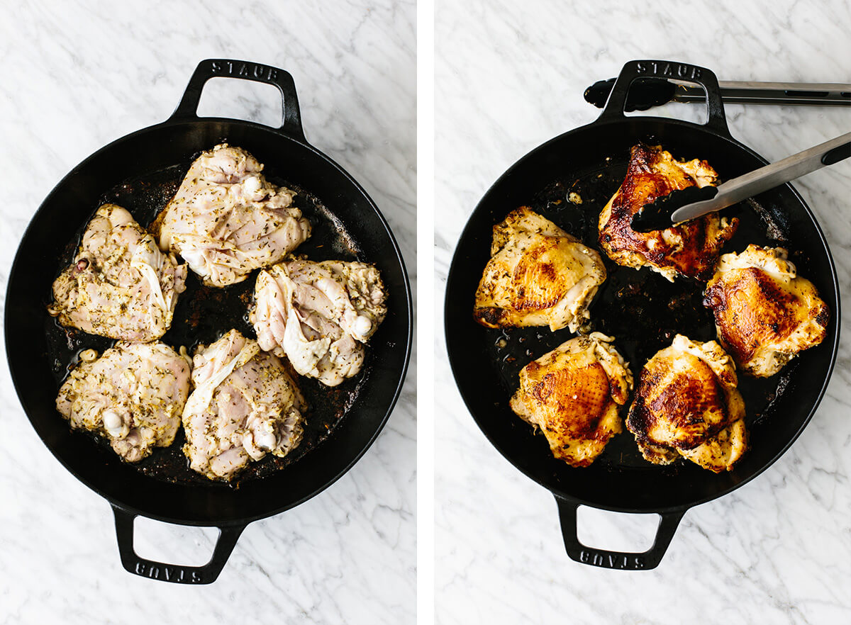 Searing the chicken thighs in a cast iron pan.