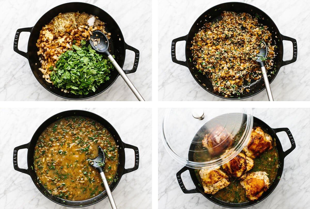 Showing how to make chicken and rice with four steps in a pan.