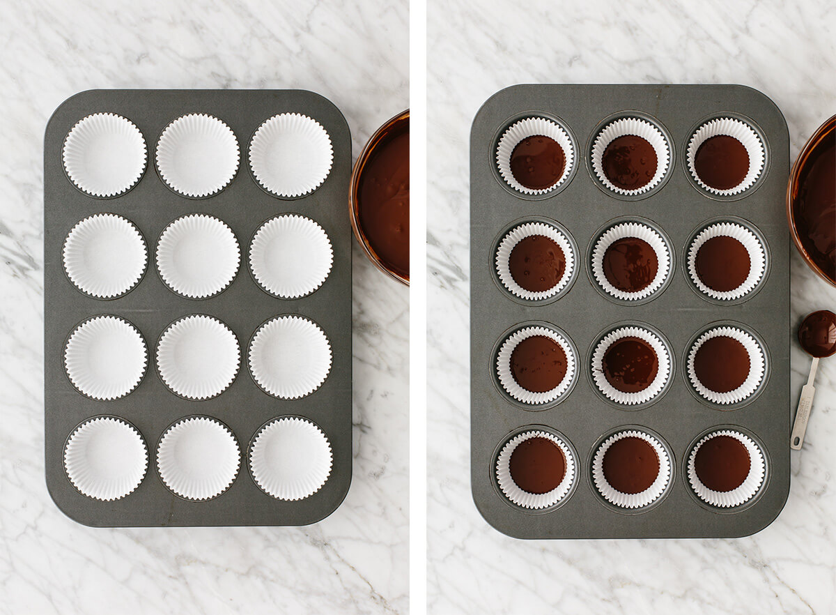 Muffin tins being filled with chocolate for almond butter cups.