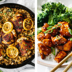 One pan chicken meal next to teriyaki chicken