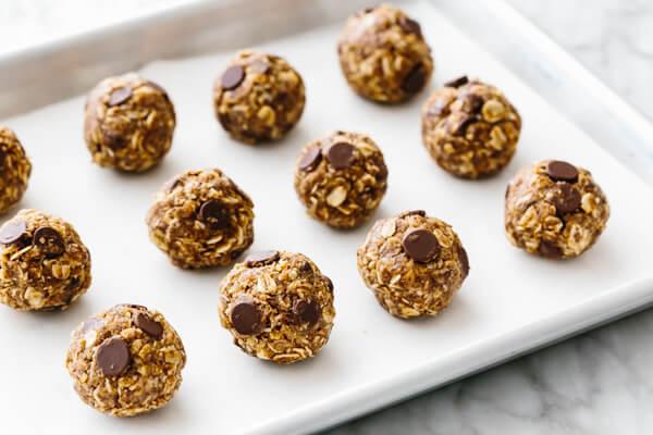 A sheet pan with no bake chocolate chip energy balls