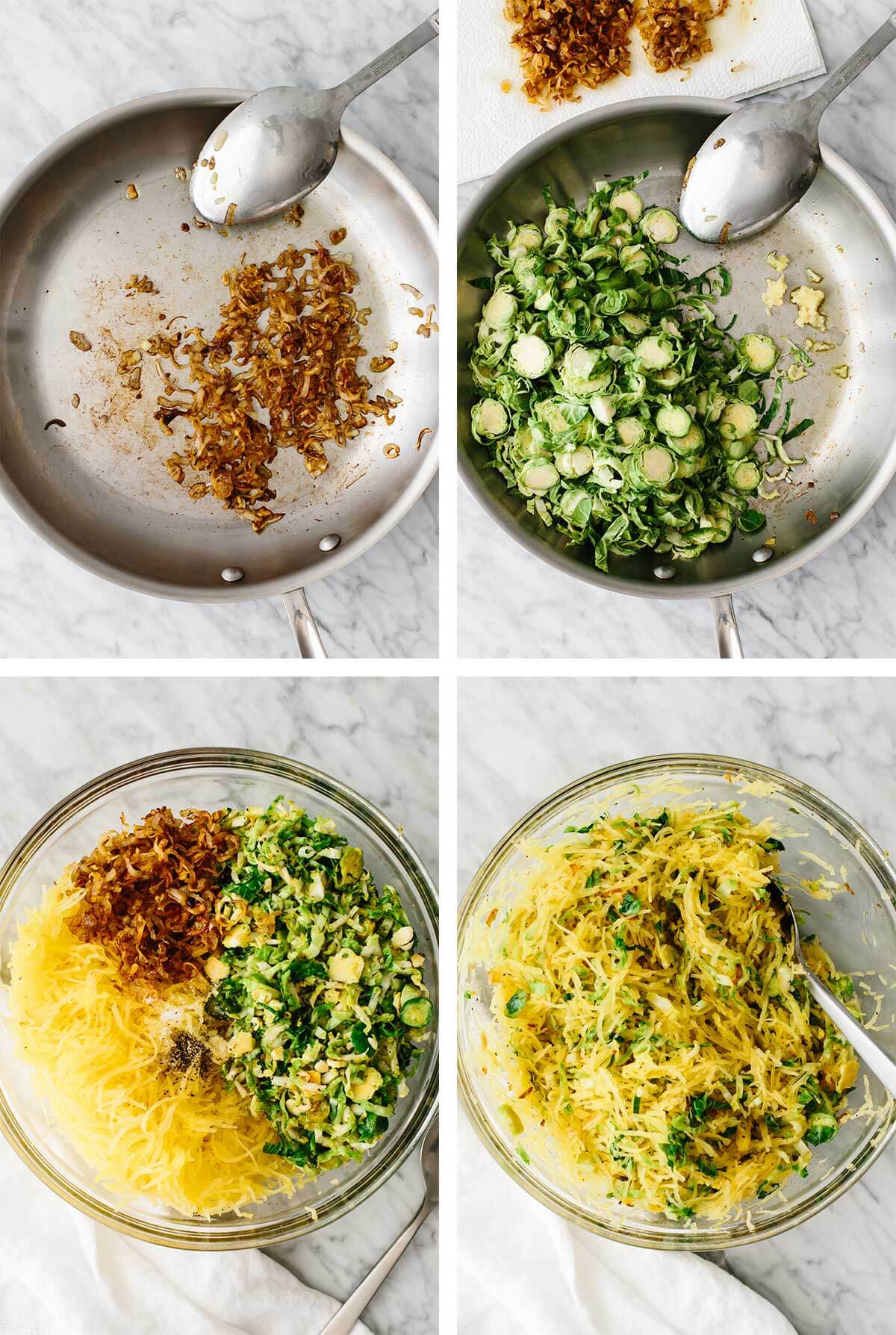 Process of cooking spaghetti squash and Brussels sprouts side dish