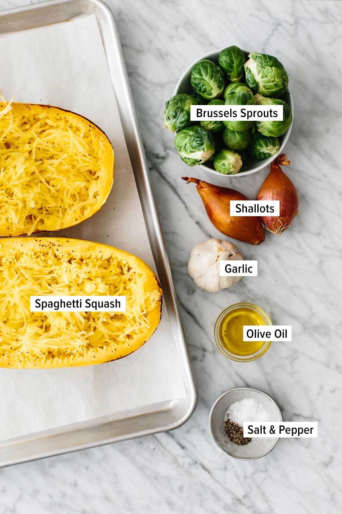 Ingredients for Spaghetti squash side dish on a table.