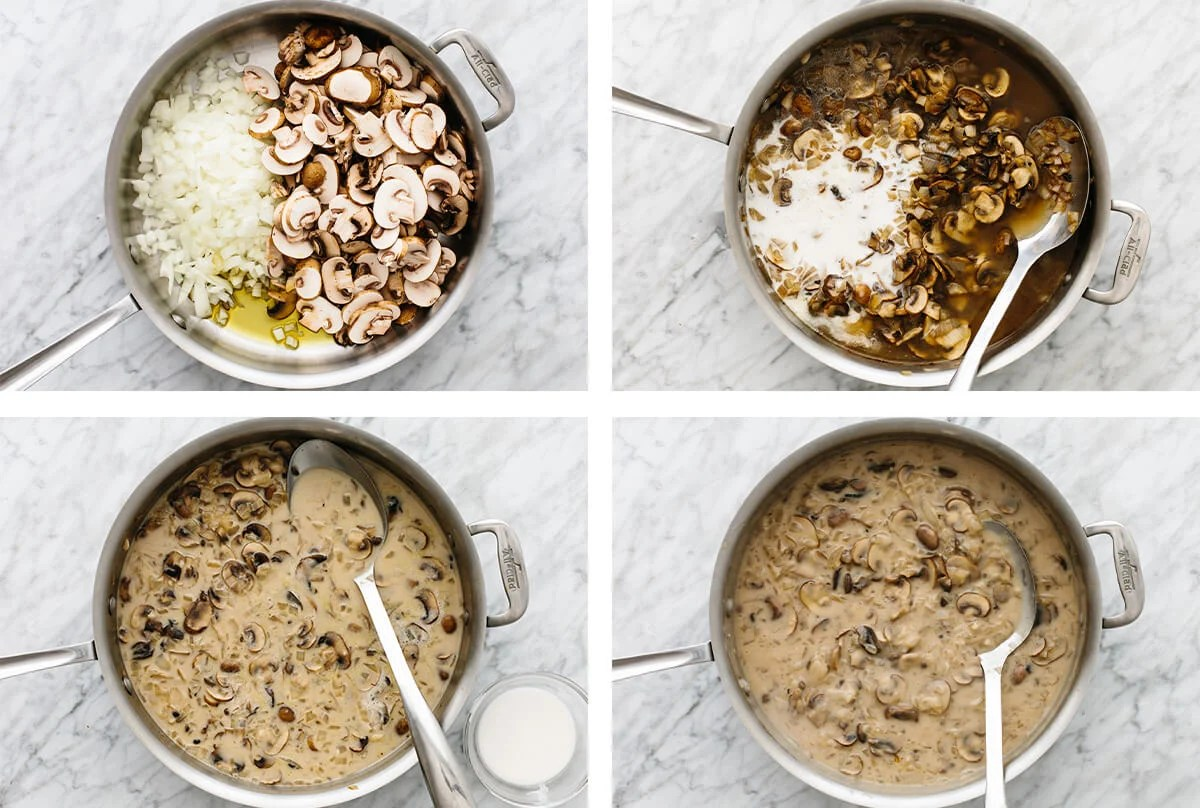 Mushroom sauce in pans for a green bean casserole.