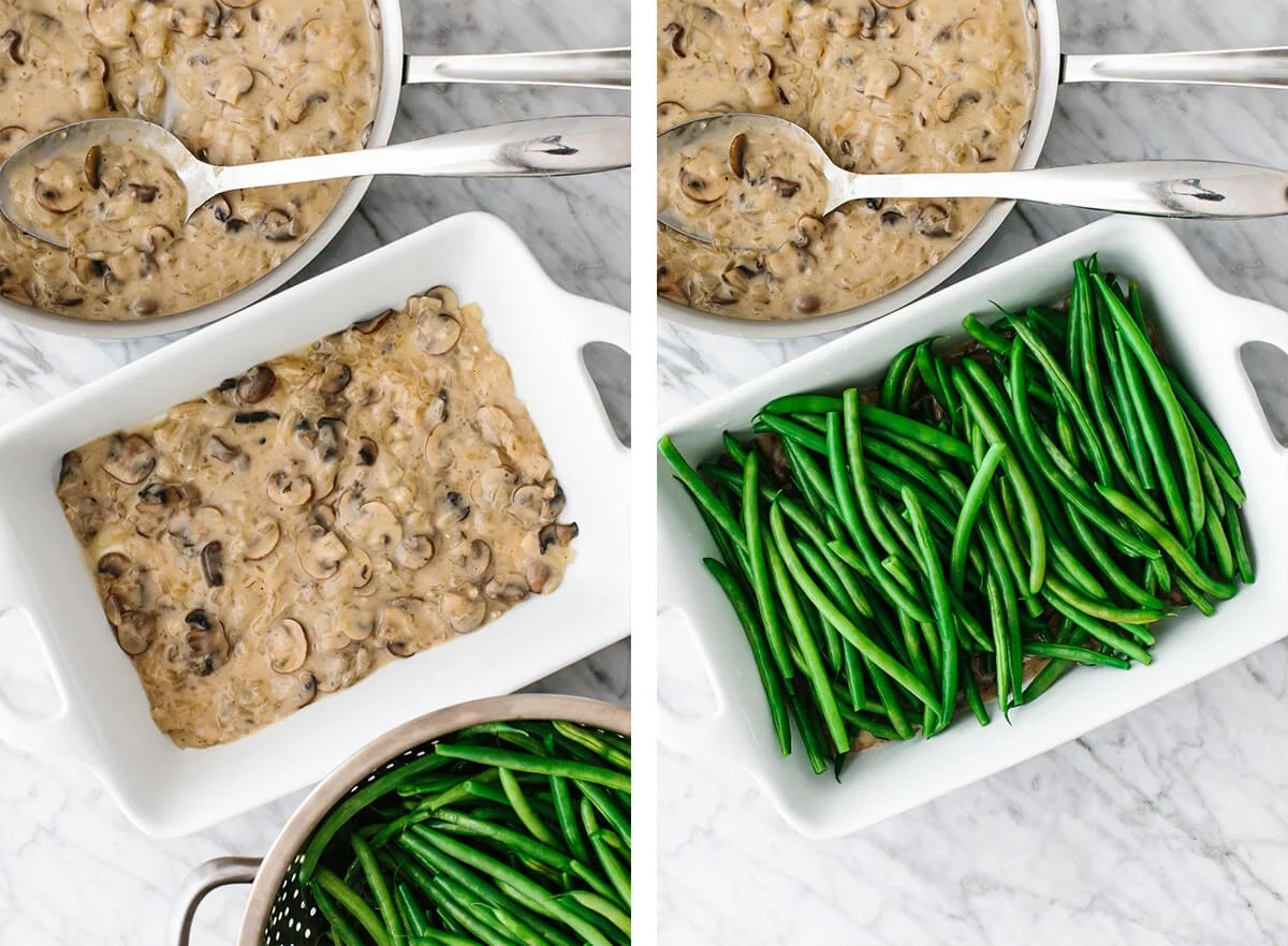 Green beans being layered with mushroom sauce for a casserole.