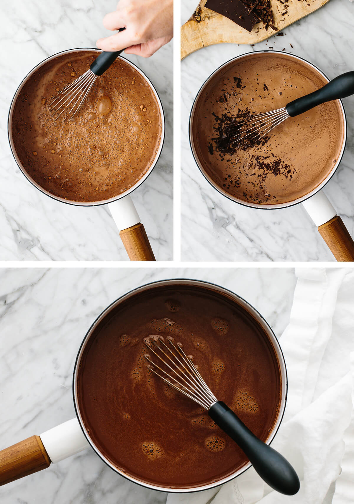 Stirring hot chocolate in a pot.