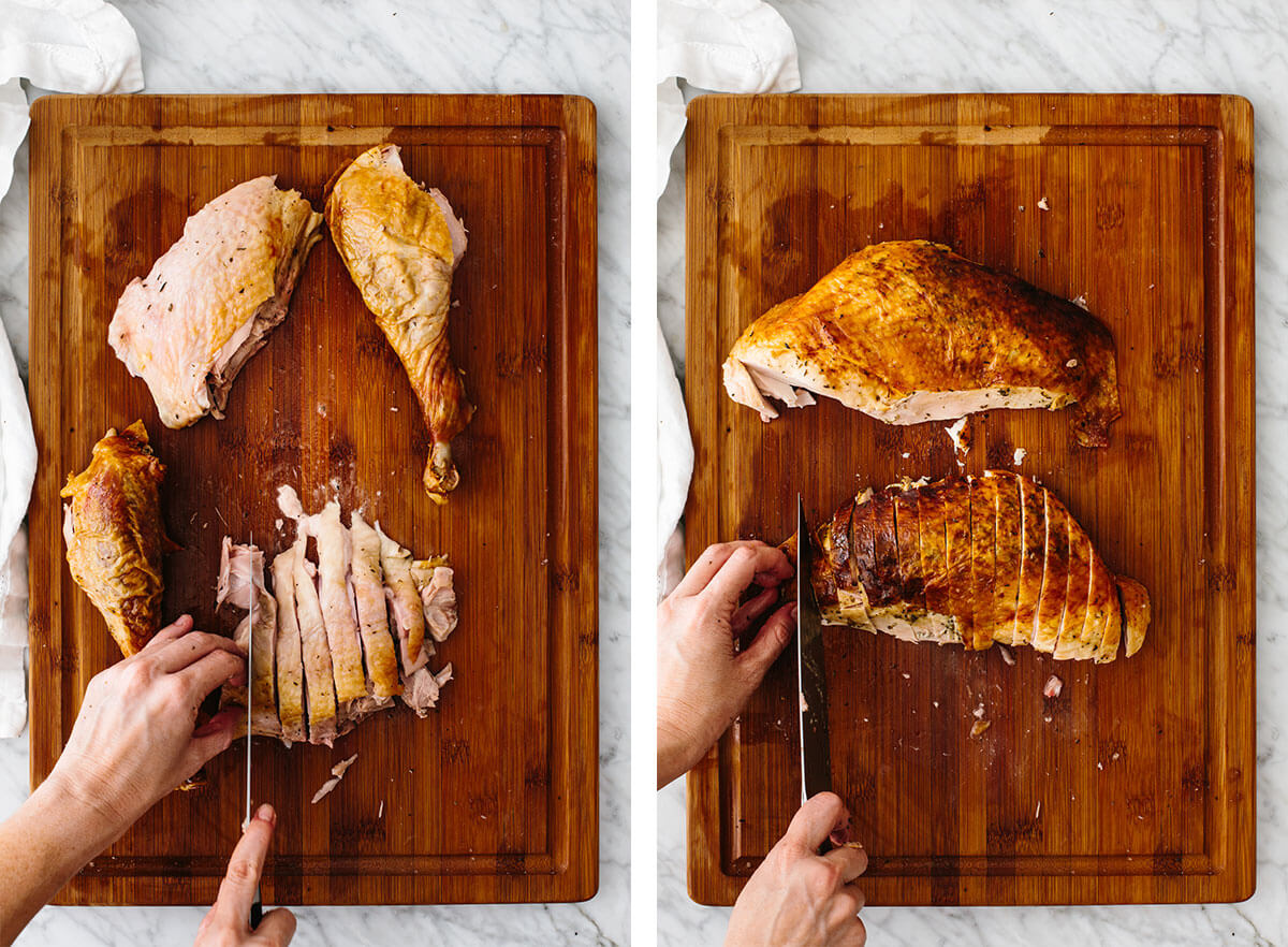 Carving a turkey into pieces.