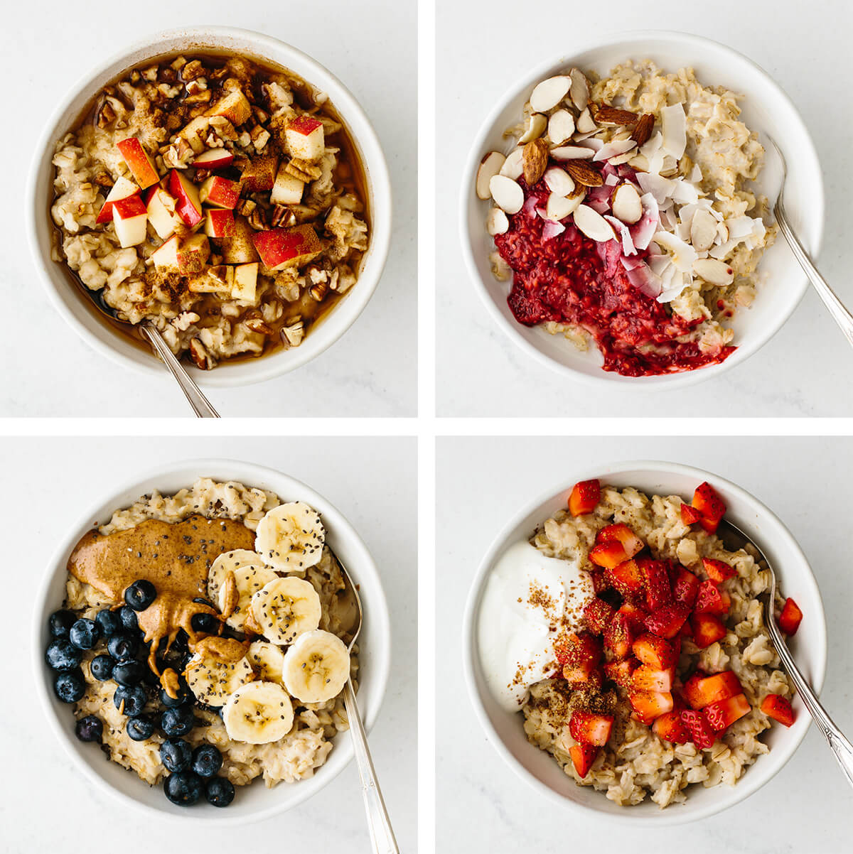 Bowls of sweet oatmeal flavors on a table.