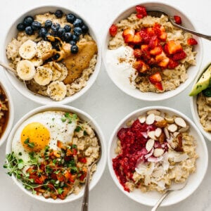 A table of sweet and savory oatmeal recipes.